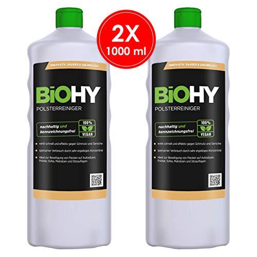 BIOHY Spezial Polsterreiniger 2 x 1 Liter Flaschen | Ideal für Autositze, Sofas, Matratzen etc. | Ebenfalls für Waschsauger geeignet