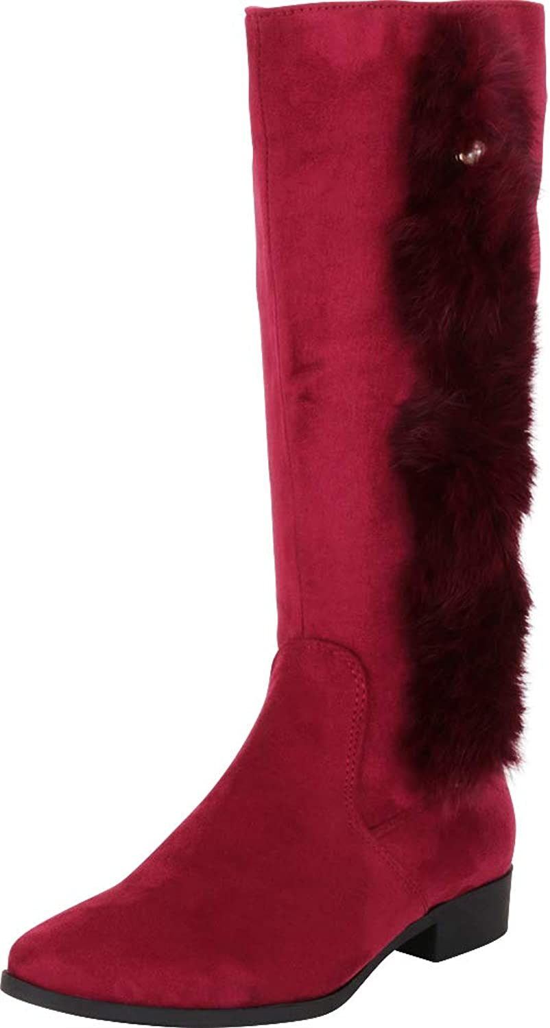 Cambridge Select Women's Round Toe Faux Fur Low Block Heel Knee-High Boot