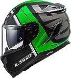 LS2 - Casco integral para moto Challenger Randy, negro, verde, M