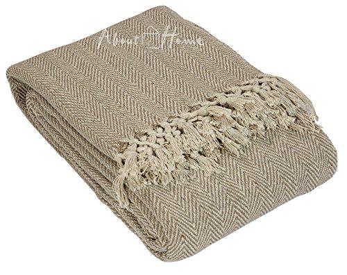 About Home Couvre-lit en Coton Motif Chevrons Beige/Naturel