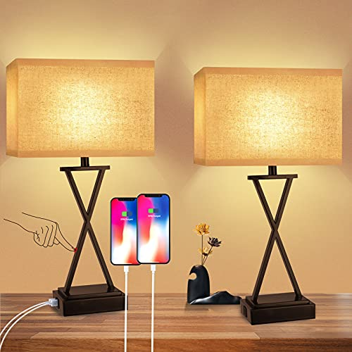 Table Lamps Touch Control, Set of 2 Bedside Lamps for Bedroom Living Room, 3-Way Dimmable Nightstand Lamps with USB Ports and AC Outlet, Black Desk Lamp Farmhouse Lamp for Reading, Study Room, Living