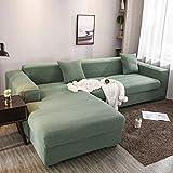 Homefurnishing Sofabezug l Form Ecksofa Sofa Spannbezug Stretch Sofabezug Set für 1-4 Sitzer Sofa(Wenn Ihr Sofa für L-Form Ecksofa ist, müssen Sie Zwei kaufen)(Zypressengrün-2 Sitzer)