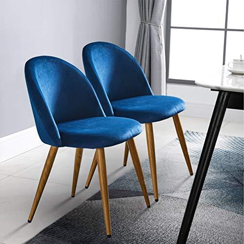 TUKAILAI 2 sillas de comedor tapizadas de tela de terciopelo azul marino