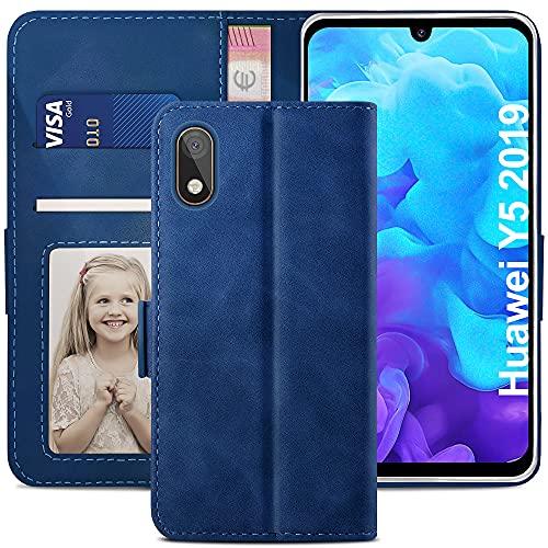 YATWIN Handyhülle Huawei Y5 2019 Hülle, Klapphülle Huawei Y5 2019 Premium Leder Brieftasche Schutzhülle [Kartenfach][Magnet][Stand] Handytasche für Huawei Y5 2019 Hülle, Blau