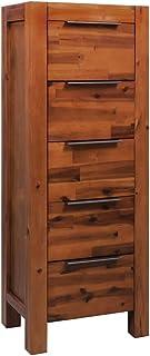 vidaXL Madera Acacia Maciza Mueble de Cajones 45x32x115 cm Aparador Mobiliario