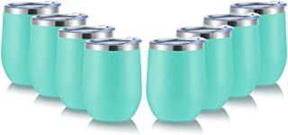 DOMICARE Insulated Wine Tumbler with Lid (8 Pack, Light Blue) - 12 OZ Stemless Double Wall Vacuum Traval Mug - Keeping Col...