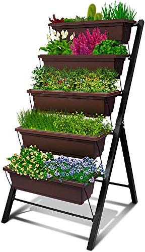 4Ft Vertical Raised Garden Bed - 5 Tier Food Safe Planter Box for Outdoor and Indoor Gardening Perfect to Grow Your Herb Vegetables Flowers on Your Patio Balcony Greenhouse Garden