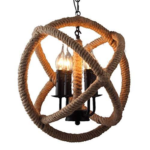 Chandelier Agriturismo Vintage corda intrecciata soffitto a soffitto lampada a soffitto industriale retrò stile paese lampadario ferro rustico E27 corda di canapa lampada a sospensione per restaurantb