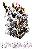QWH Organizador de acrílico Belleza para Mujer Juego de regulador de Maquillaje de 5 Capas y 6 cajones