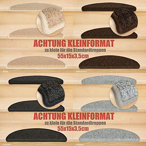 Kettelservice-Metzker® Stufenmatten Kleinformat für Raumspartreppen/Wendeltreppen 55x15x3,5cm inkl. Fleckentferner, Anthrazit 14 Stück