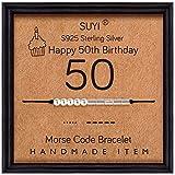 Suyi Morse Code Bracelet Sterling Silver Bracelet 50th Birthday Gifts Ideas for Women 50