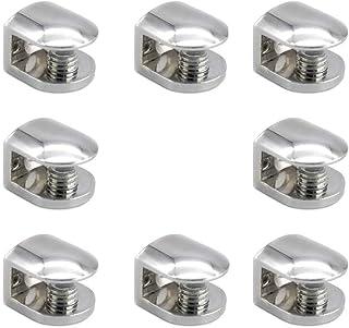 Mila-Amaz 8 Pezzi Morsetto di Vetro Lega di Zinco Supporto Vetro Morsetto Vetro Regolabile per Vetro di Spessore 6-8MM