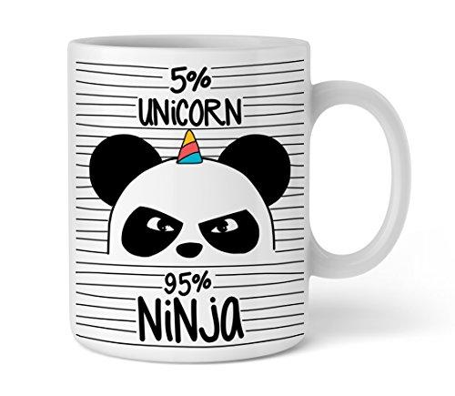 Shirtinator Unicorn Ninja Panda Taza I divertida taza de café con texto I Ideas de regalo para mujeres mejor amiga Día de San Valentín