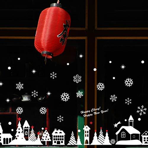 Kylewo Kerst venster lijm muur stickers - venster stickers PVC raam beelden Kerstmis raamdecoratie zelfklevende raamfolie Kerstmis decoratie