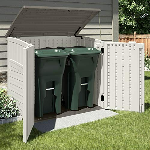Suncast ® BMS2500 Double Wheelie Bin Store – no painting needed, will not rot, easy to clean, rain proof