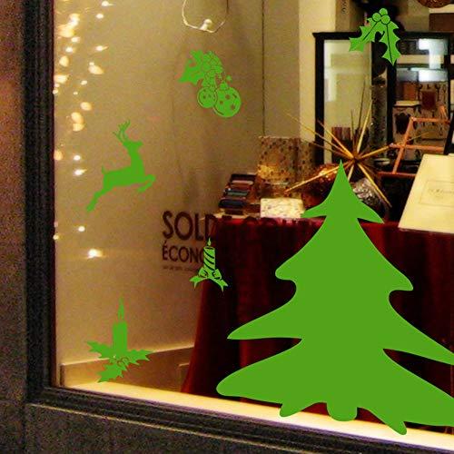 KEJIA Etiqueta engomada Verde de la Pared de la Etiqueta de la Ventana de la Vela del Reno del árbol de Navidad