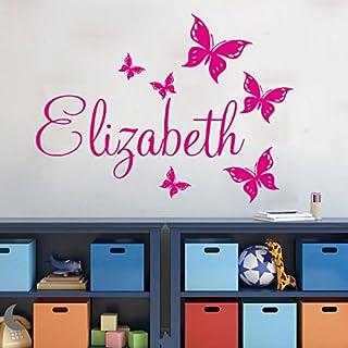 Mural ZOZOSO Nombre Personalizado Pegatinas De Pared Casa Decoración Chicas Habitación Etiqueta Mariposas Personalizado Pared Calcomanía