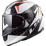LS2 FF320 Stream Evo - Casco de moto integral con doble visera, color blanco, negro y rojo XS(53-54cm)