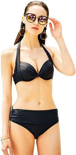 Qiusa Bikini de Source Chaude, Maillot de Bain Trois Points, Petite Cravate Sexy Deux Ensembles (Couleur  Rouge, Taille  XL) (Couleuré   Noir, Taille   X-grand)
