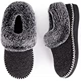 EverFoams Women's Luxury Wool Memory Foam Slippers with Fluffy Faux Fur Collar and Indoor Outdoor Sole (Black, Size 11 M US)