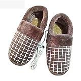 BDN de pies con calefacción,Zapatillas calefactadas a Cuadros, Zapatos de algodón para Calentar los pies, Zapatos Calientes de Carga USB de Invierno-marrón_43-44 Yardas