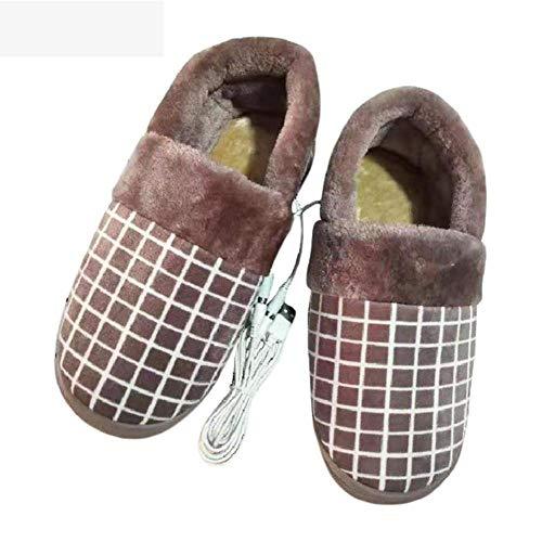 BDN Original Hoch Hausschuhe für Ofen & Mikrowelle,Plaid beheizte Hausschuhe, Fußwärmer Baumwollschuhe, Winter USB Aufladen warme Schuhe-braun_41-42 Meter