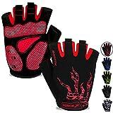 MOREOK Mens Cycling Gloves,Half Finger Biking Glove MTB DH Road Bicycle Gloves Gel Pad Shock-Absorbing Anti-Slip Breathable Motorcycle Mountain Bike Gloves Unisex Women AK050-Red-M
