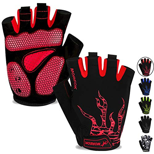 MOREOK Mens Cycling Gloves,Half Finger Biking Glove MTB DH Road Bicycle Gloves Gel Pad Shock-Absorbing Anti-Slip Breathable Motorcycle Mountain Bike Gloves Unisex Women AK050-Red-M