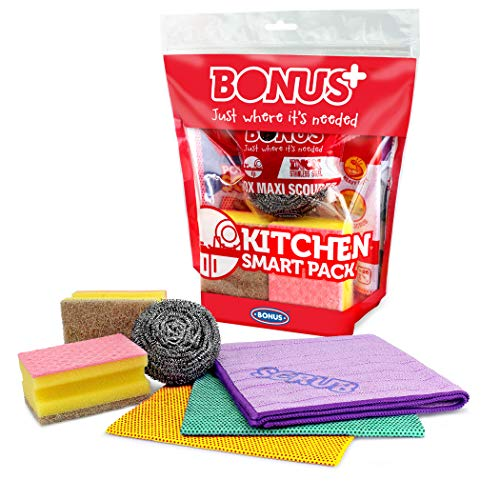 BONUS Kitchen Smart Pack, Home and Kitchen Cleaning Products, Mixed Pack, Scrubbing Cloth, Microfibre Cloth, Scourer, Kitchen Sponge