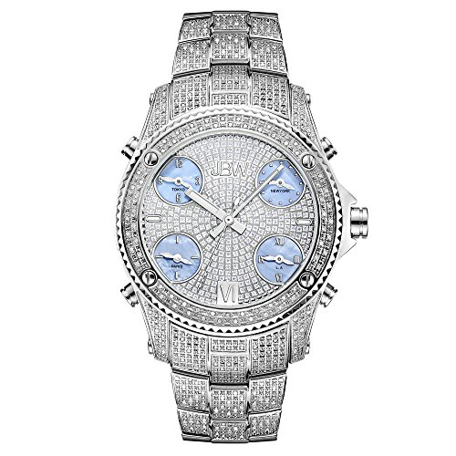 JBW Men's Jetsetter Diamond 50mm Steel Bracelet Swiss Quartz Watch JB-6213-C