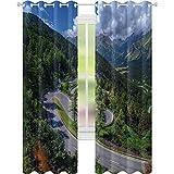 Cortinas con aislamiento térmico, vista natural de Maloja Pass Alpes Suiza, Europa Montañas Bosque, carretera de 52 x L84, cortinas opacas para sala de estar, verde, gris y azul