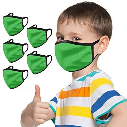 lHAZA 5 Stück Kinder Staubschutz Einfarbig Baumwolle Waschbar Wiederverwendbar Mundschutz Atmungsaktiv