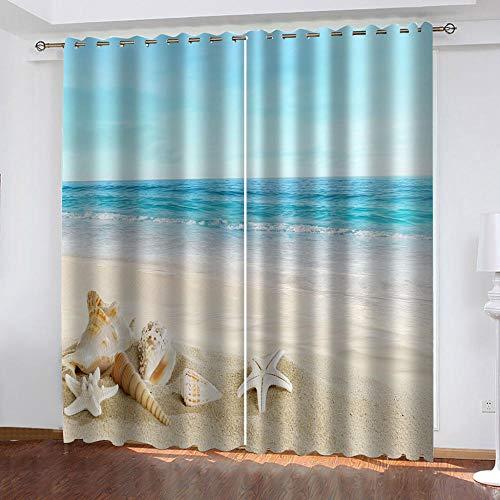 LIGAHUI Ösenvorhang Vorhang Blickdicht Blau & Strand 2X B140x H245cm Blickdicht Vorhänge mit 3D Drucken Vorhangverdunklungs Gardinen Schlafzimmer für Kinder Kinderzimmer