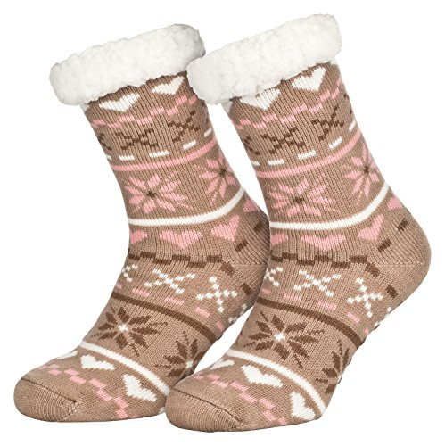 Piarini 1 Paar Kuschelsocken mit ABS Sohle - warme Damen Socken Hüttensocken - Wintersocken mit Anti Rutsch Noppen - Love-Beige (One-Size)