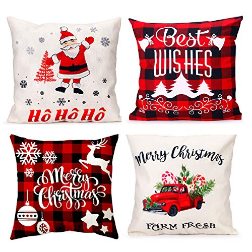 iMucci 4 Packs 18 Inch Farmhouse Christmas Plaid Pillow Covers for Home Red and Black Buffalo Check Christmas Decor Winter Holiday Christmas Pillows Christmas Decorations Throw Pillow Covers