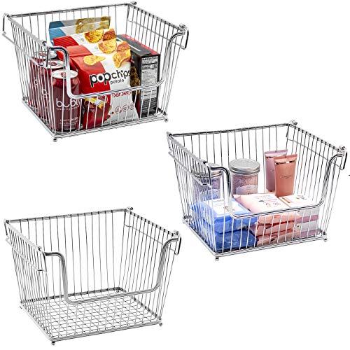 Sorbus Farmhouse Scoop cestas de Alambre con Asas, Cesta apilable para el hogar, Cocina, baño, lavandería, organización de clóset, Hierro Metal, Plateado, Paquete de 3