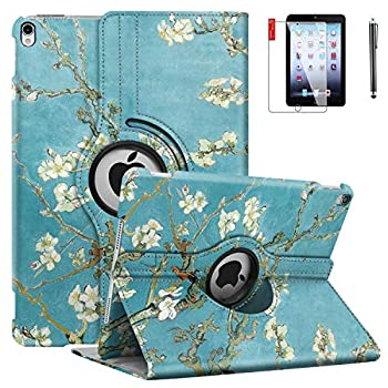 NEWQIANG iPad Air 1st Case Cover - 360 Degree Rotating Stand Auto Sleep Wake - Fit for Model A1474 A1475 A1476 MD785LL/A MD876LL/A Pear Flower
