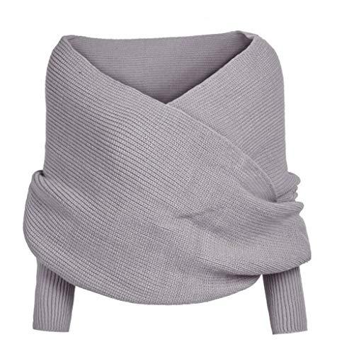 Lazzboy Frauen-fester Schal-Hülsen-Häkelarbeit-Strick-langer weicher Winter-Schal(Grau)