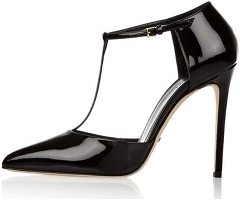 C.W.EURJ Pumps for Frauen Seitenschnitt Stilettos 10cm High Heels Echtes Leder Verstellbare Schnalle T-Riemen Patent Ganz (Farbe   Schwarz, Größe   36 EU)