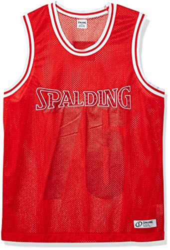 Spalding Men's Athletic Dry Mesh Basketball Jersey Shirt Tank, Engine Red, S