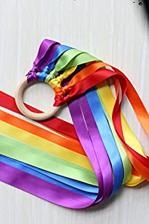 Cheonus Ribbon Hand Kite Rainbow Color 60cm Streamer Wooden Toy Wands Dancing Ring Waldorf Toys Wood Rainbow Ring for Gift Birthday Decor Kids Party Favor