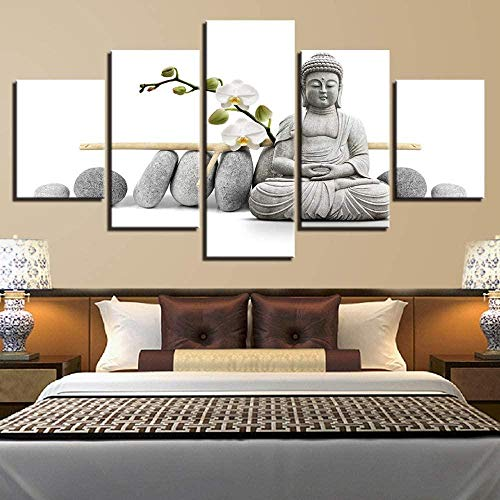 FDD5P Cuadros en Lienzo Estatua de Zen,Painting Pinturas murales Decoración Impresiones Home Sala de Estar Cocina Dormitorio,5 Partes/con Marco de Madera