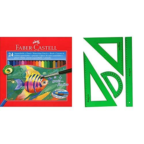 Faber-Castell 114425 - Estuche de 24 ecolápices de color acuarelable, 1 pincel + 65021 - Pack escolar con escuadra, cartabón, regla y semicírculo, color verde