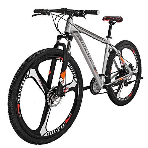 Eurobike X9 Mountain Bike 21 Speed 29 Inches 3-Spoke Wheels Dual Disc Brake Aluminum Frame MTB Bicycle Silver