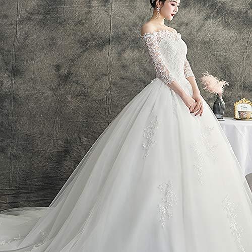 bdb Robe de mariée classique dos nu pour femme - Élégante robe de bal de fin d'année en dentelle - Couleur : blanc - Taille : XXL