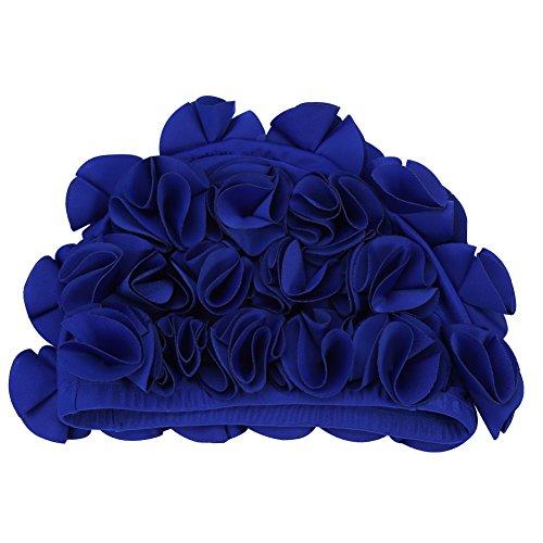 Tapa de baño de Flores Gorra de baño de natación Sombrero de baño Tapas de Ducha de natación Cómodo Tela de Nylon Sombreros de natación para natación al Aire Libre(Blue)