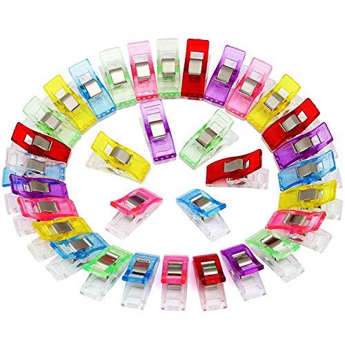 U 100 Stück Stoffklammern Verschiedene Farben Gefärbt Clips Schellen, Nähen Zubehöre Quilting Clips Kunststoff Häkeln mit Häkchen für Nähen
