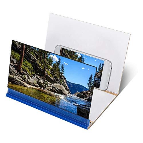 Eboxer Klare Bilder 8in Handy-Bildschirmverstärker Keine visuelle Ermüdung Bildschirmverstärkerständer Bildschirm Lupe (blau)