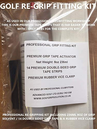 GOLF GRIP FITTING KIT INC 14 GRIP TAPE STRIPS 8oz SOLUTION SOLVENT RUBBER...