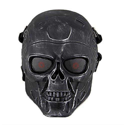 haoYK Full Face Airsoft Maske Taktische Paintball CS Schutzausrüstung Ausrüstung mit Metallgewebe Augenschutz (Silber Schwarz)